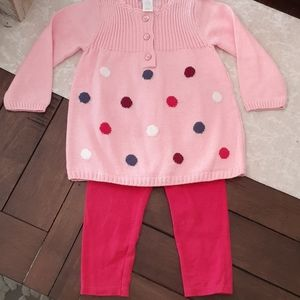 Sweater outfit pink dot NWT pants